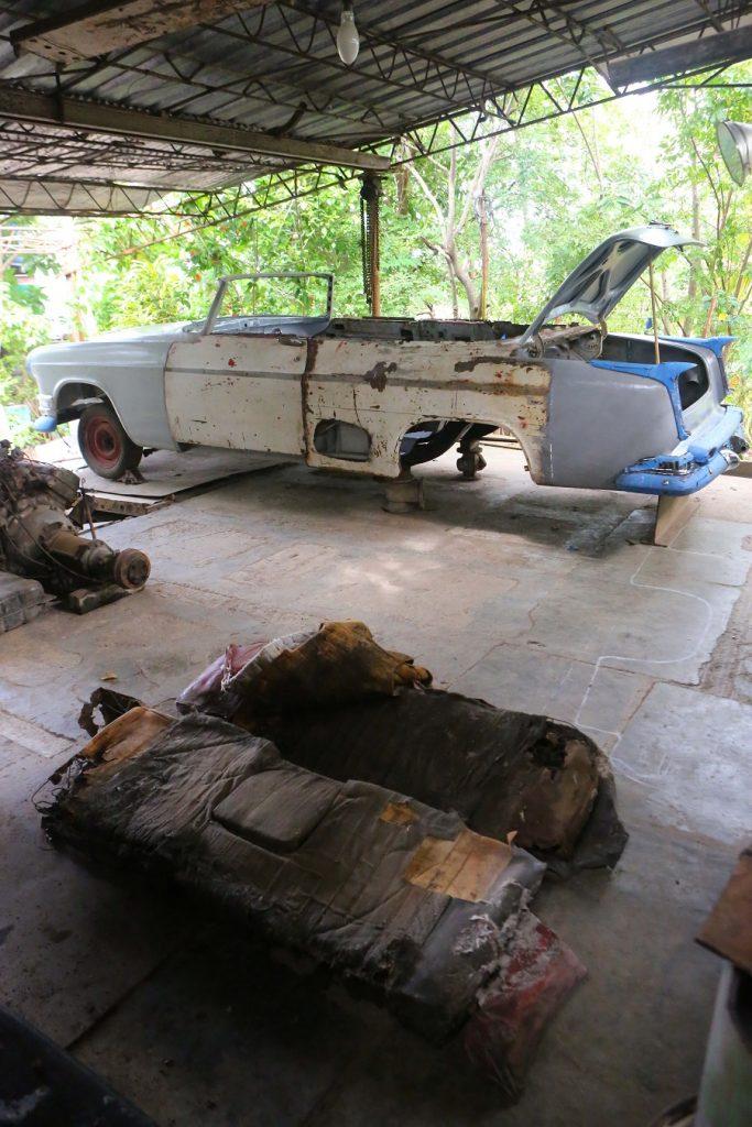 Hemingway Chrysler and tattered original seats, December 2012; copyright Christopher P Baker